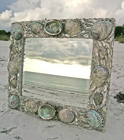 Silver abalone seashell mirror